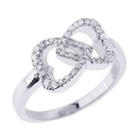 White Gold Diamond Studded Infinity Double Heart Promise Ring