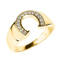 Diamond Yellow Gold Men's Pinky Ring