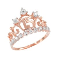 Rose Gold Quinceanera Princess Crown Pendant Necklace