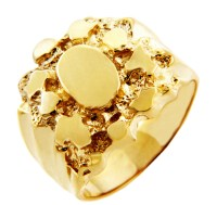 Men's Gold Nugget Rings - The Hero Solid Gold Nugget Ring