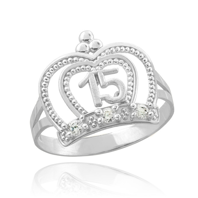 """White Gold """" Sweet 15 Anos"""" Quinceanera Ring"""
