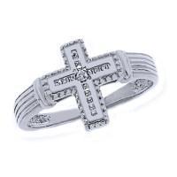 Rhodium Diamond Cross Ring