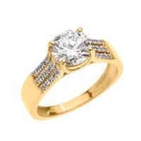 Yellow Gold Three Row Micro Pave Diamond Set Engagement ...