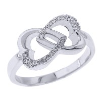 White Gold Infinity Double Heart Diamond Promise Ring
