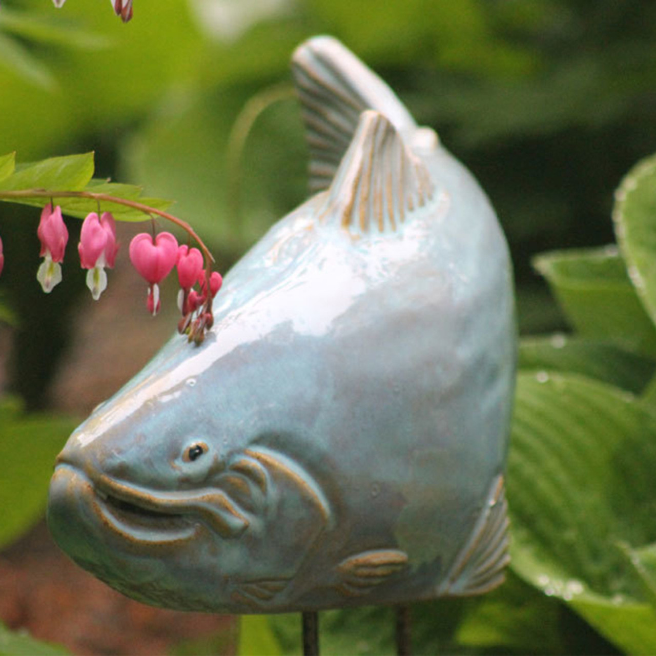 Ceramic Sky Colored Trout Garden Art Statues In Maine