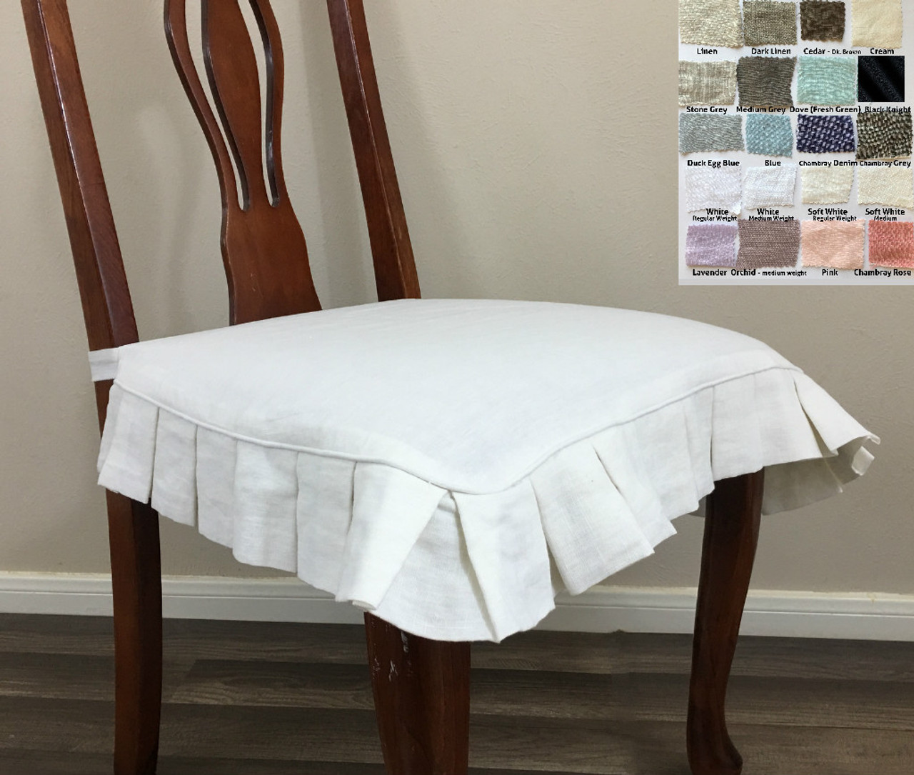 chair covers and linens high amazon linen seat cover with pleated ruffles  multiple colors