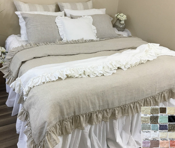 Natural Linen Bed Throw Blanket With Vintage Ruffles