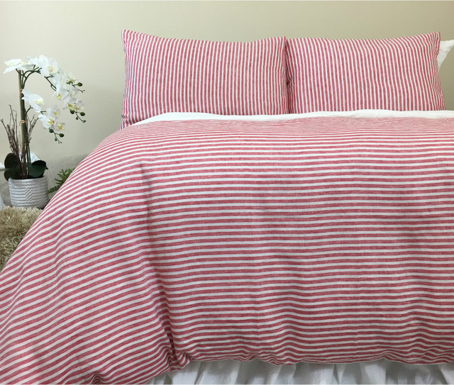 Red And White Striped Duvet Cover Natural Linen Custom SizeQueenKingCalifKingTwin