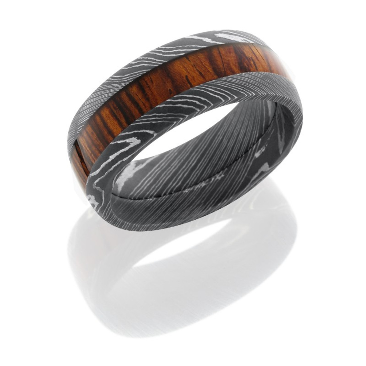 Damascus Steel With Mexican Cocobollo Wood Inlay Ring