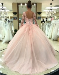 Pink Ball Gown Lace Tulle Long Sleeves Backless ...
