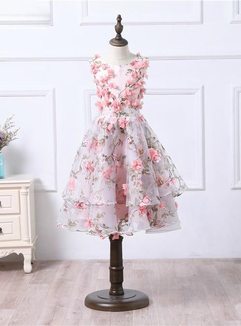 Vintage Saudi Arabia Puffy Short Lace Prom Dresses 3D Flowers