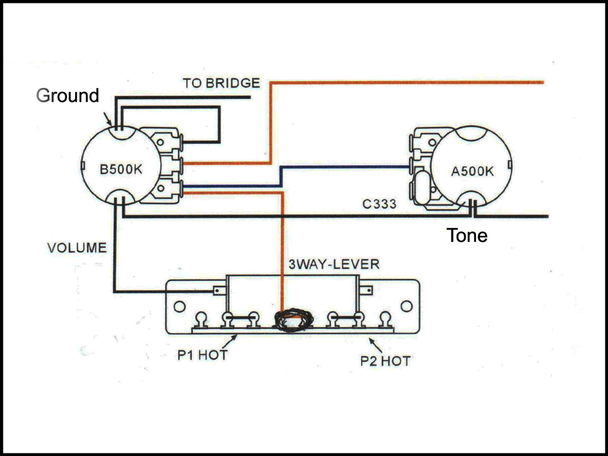 3 Way Lever Switch Guitar Wiring Hsh Diagram In Addition Gibson Les Paul Likewise Schematic Than Is Typical Of Or Epiphone Guitars This If For A Used Fender Jazz High Quality Chrome Vintage 5
