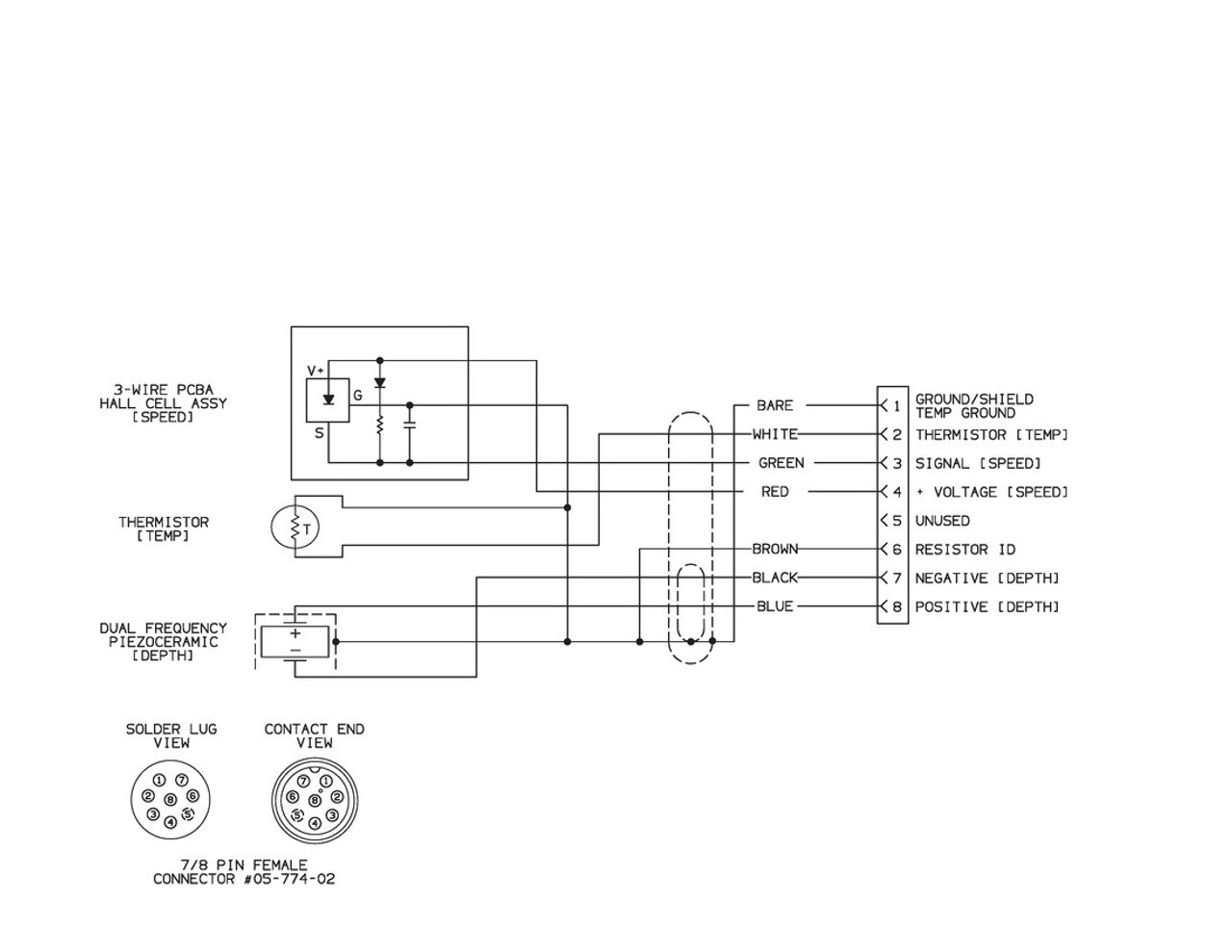 hight resolution of resistor wiring diagram 7 wire pigtail wiring library depth speed temperature p66 600w transducers
