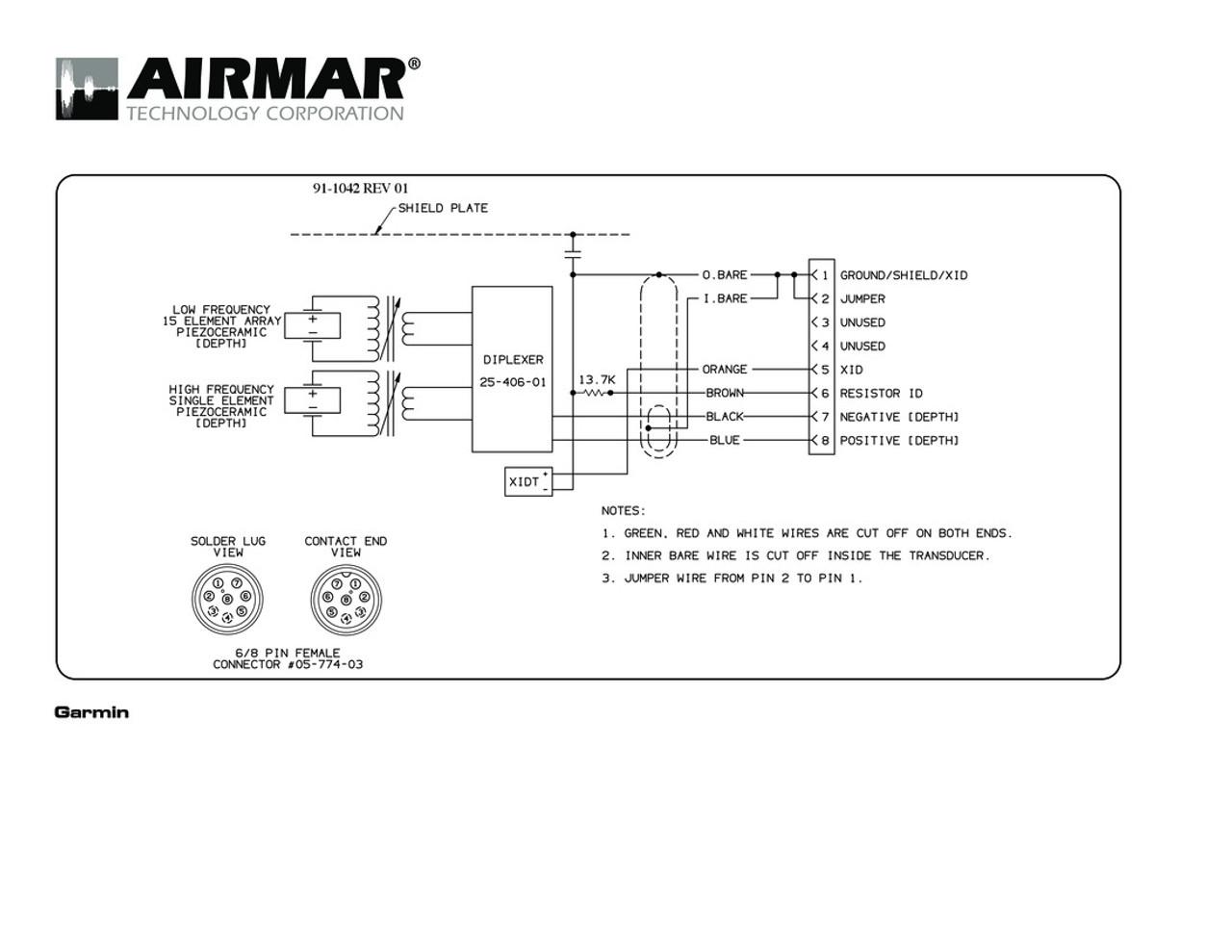 Airmar Wiring Diagram Garmin R199 8 pin (D, T)   Blue