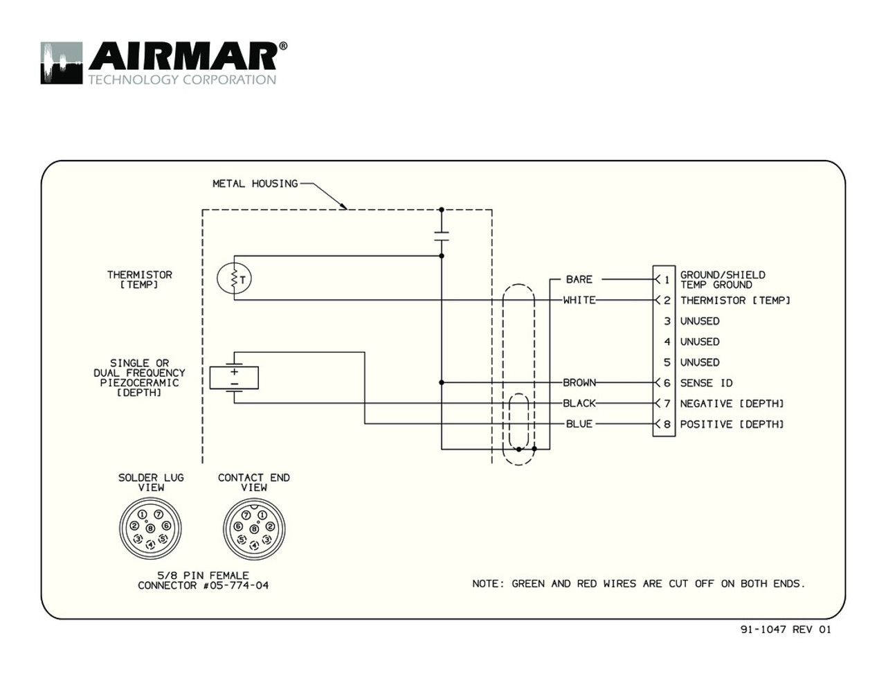 Airmar Wiring Diagram Garmin B117 8 Pin (D,T) | Blue
