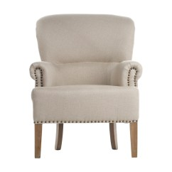 White Linen Chair High Seat Dining Chairs Elderly Antique Occasional Nailhead Trim