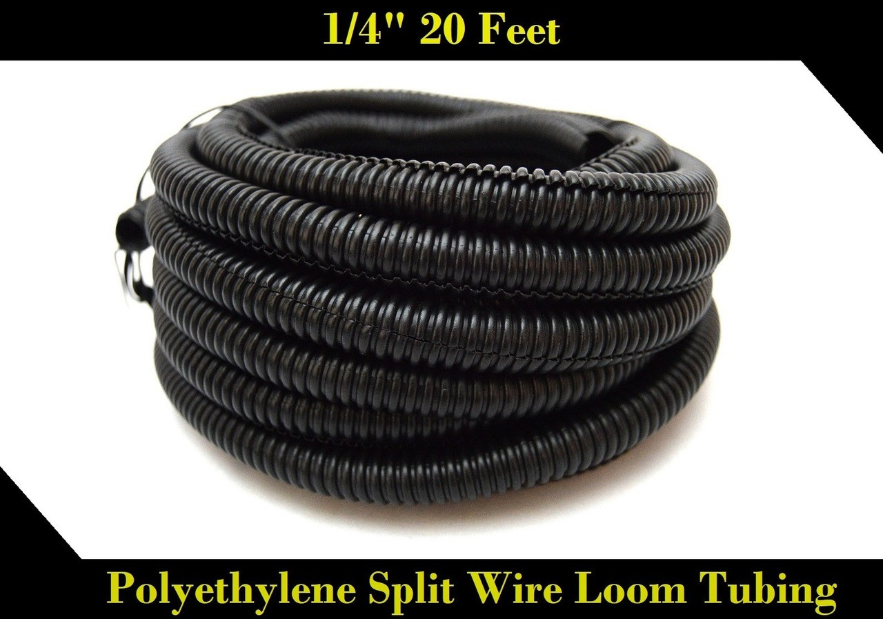 medium resolution of 20 ft 1 4 inch split loom tubing wire conduit hose cover auto home marine black