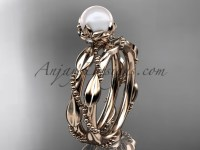 Unique Pearl Engagement Ring Set - Rose Gold Set AP178S