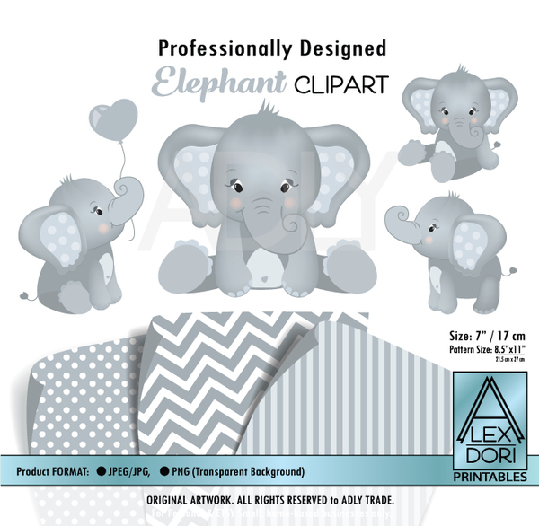 baby blue and soft gray elephants