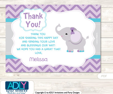 Purple Elephant Thank You Printable Card With Name
