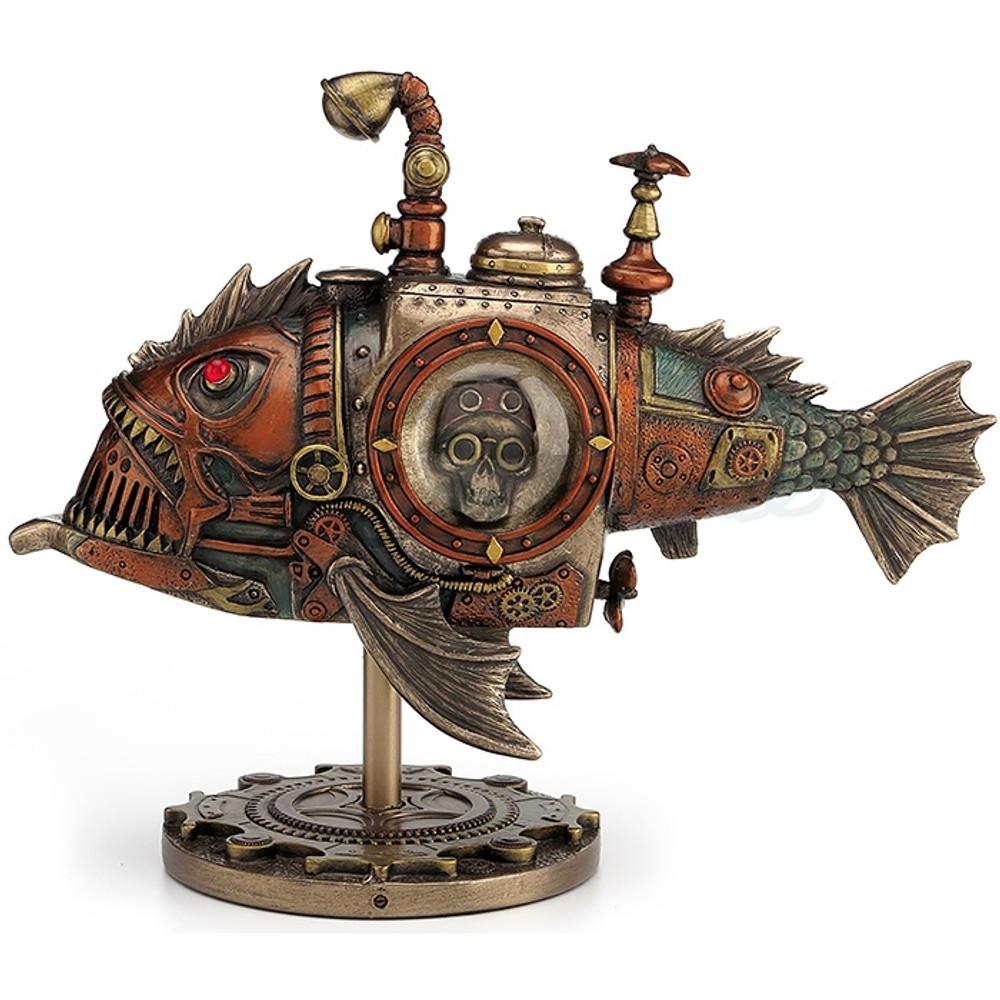 Steampunk Submarine Fish Sculpture Melanocetus Unicorn