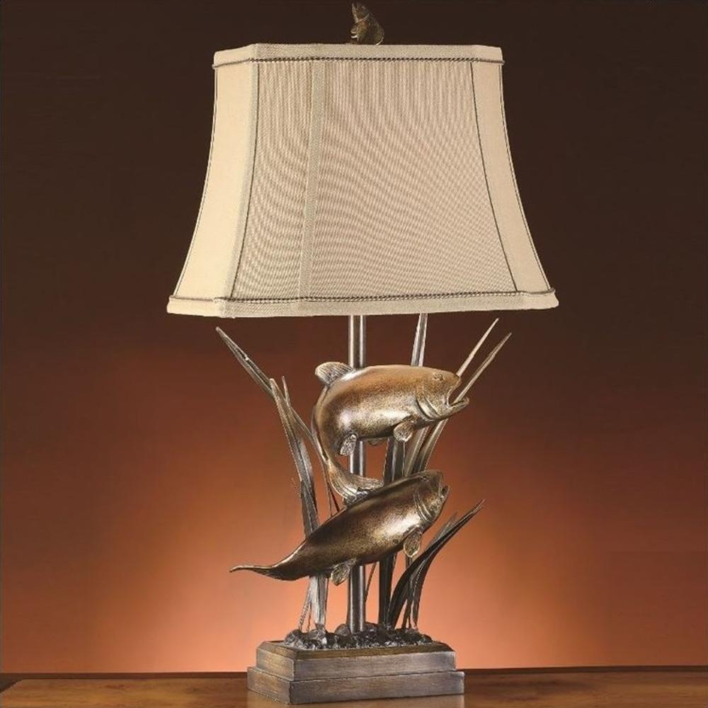Fish Table Lamp Upstream Cabin Lodge Lighting