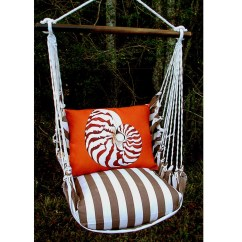 Hanging Chair Big W Green Dining Covers Nautilus Shell Hammock Swing Striped Chocolate