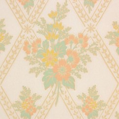 Orange Kitchen Wallpaper Cabinet Software 1930s Vintage And Yellow Floral Bouquets