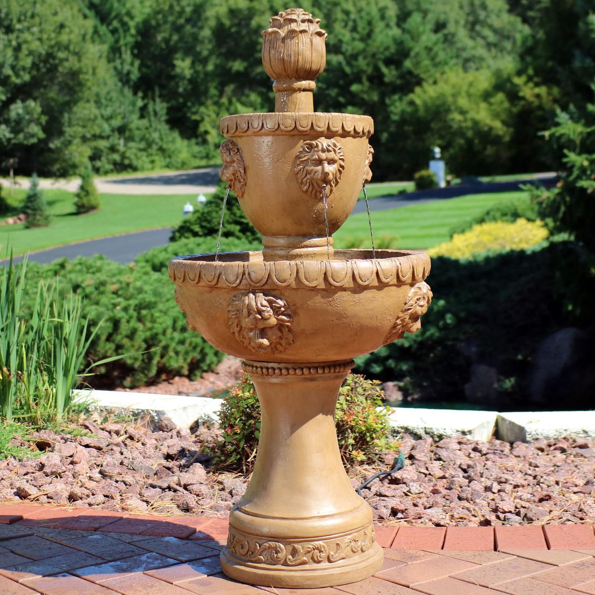 Sunnydaze 2-tier Contemporary Lion Water Fountain