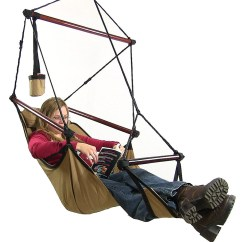 Hanging Chair Big W Covers In Ivory Sunnydaze Hammock Pillow And Drink Holder