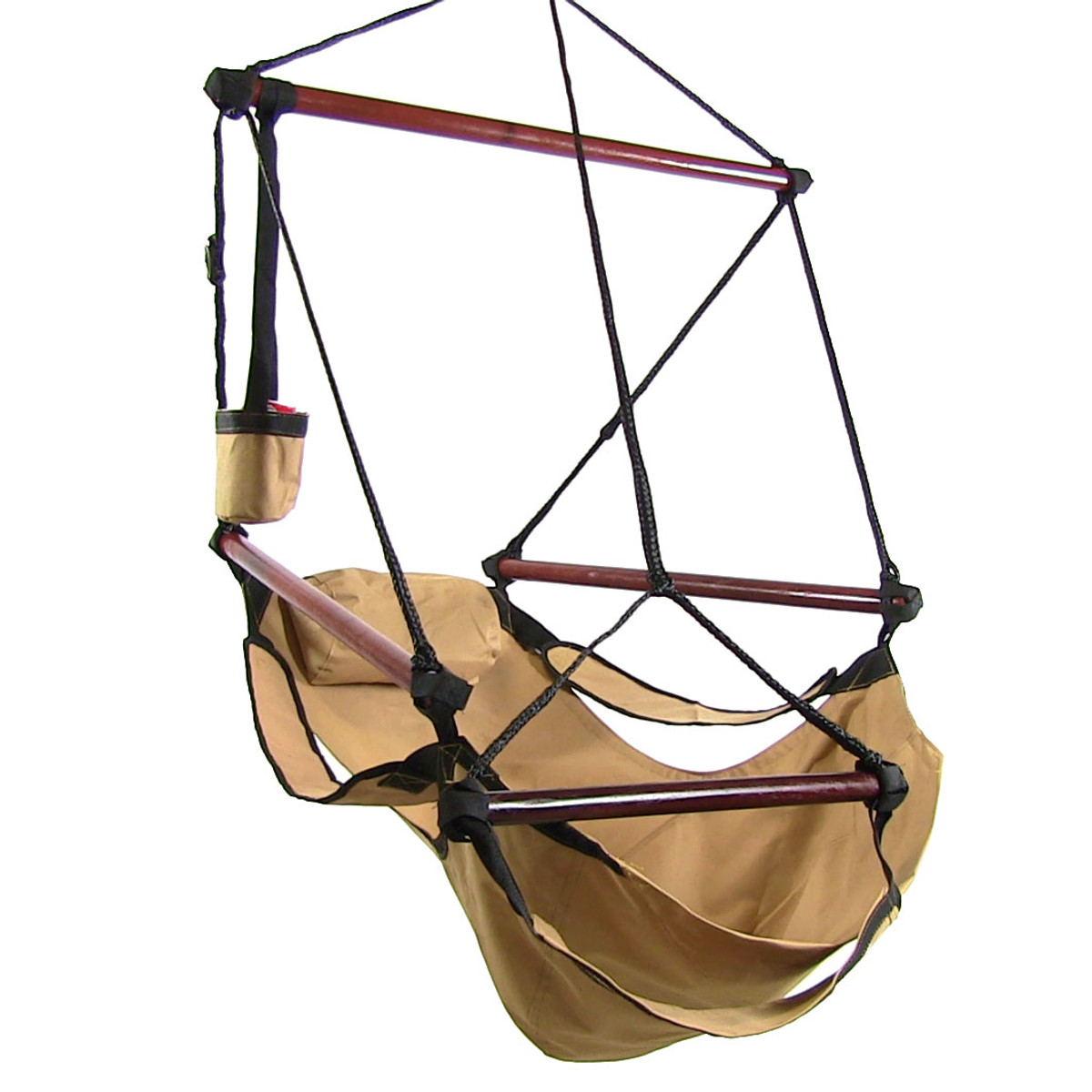 hanging chair no stand steel gif sunnydaze hammock with pillow drink holder