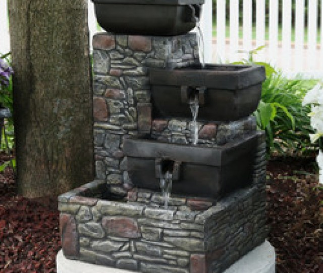 Sunnydaze  Tier Stacked Stone Square Bowls Outdoor Water Fountain With Led Lights  Inch Tall