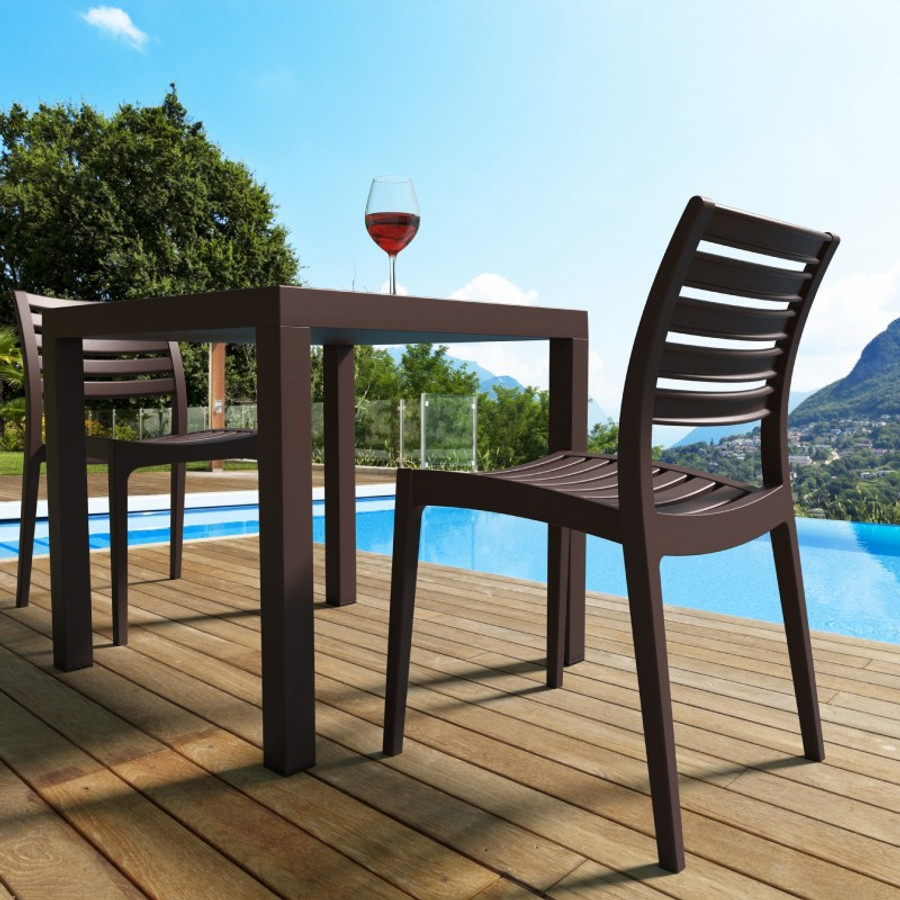 Ares Resin Square Dining Set With 4 Chairs Outdoor Furniture