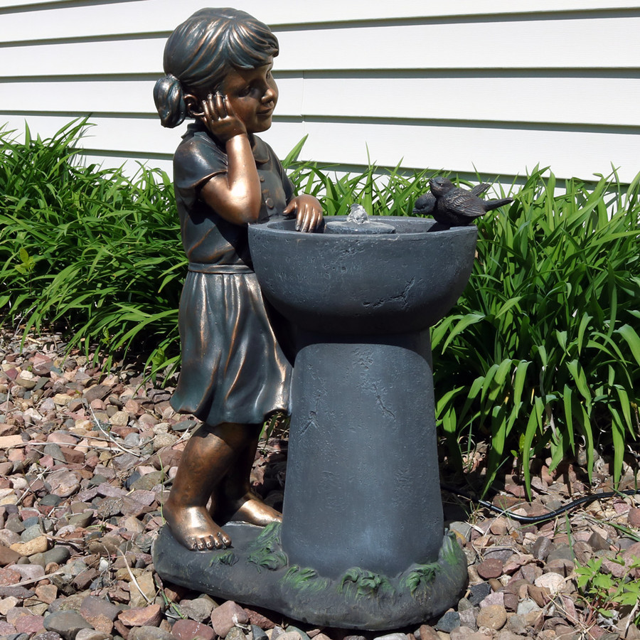 Sunnydaze Little Girl Admiring Water Spout Outdoor Garden