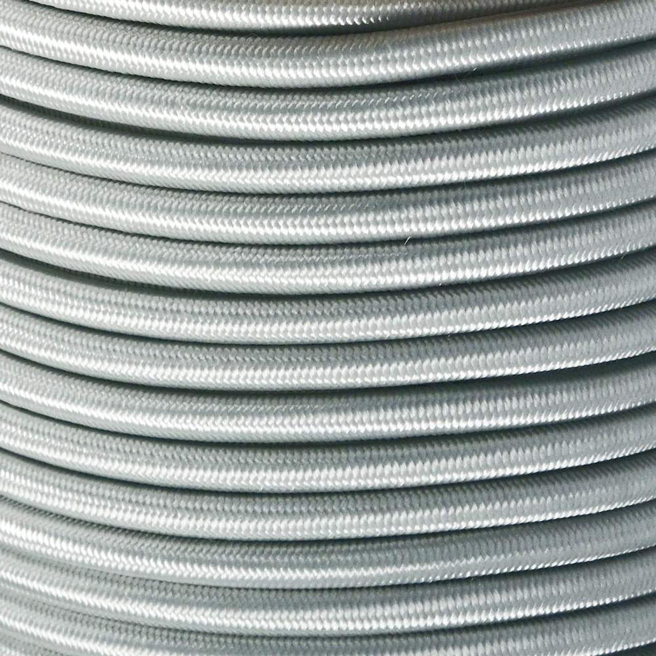 "Silver Gray Bungee Shock Stretch Cord 1 4"" Diameter"