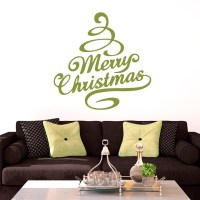 Merry Christmas Tree Wall Decals Home Dcor Wall Decals
