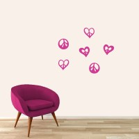 Peace Signs and Hearts Nursery & Kids Decorative Wall ...
