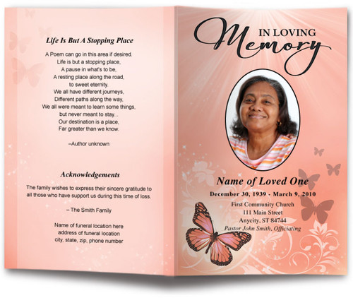 Butterfly Letter Single Fold Program Template 6 Colors The Funeral Program Site