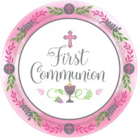 First Communion Paper Plates | Girl | 18 Count | Cross ...