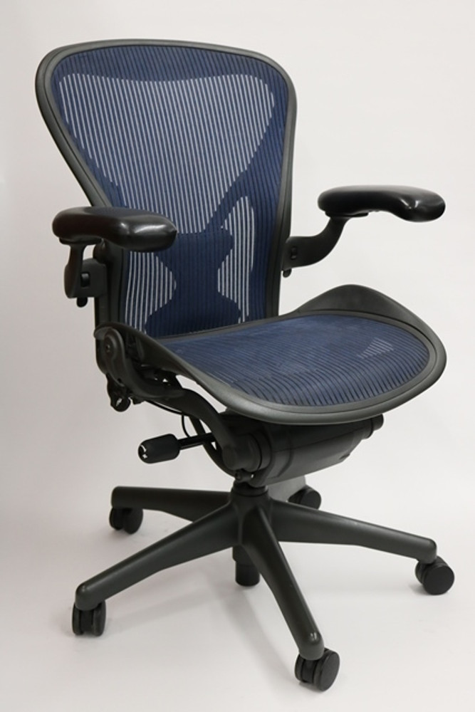 aeron chair drafting stool stretch covers nz herman miller fully featured cobalt blue w/posuturefit