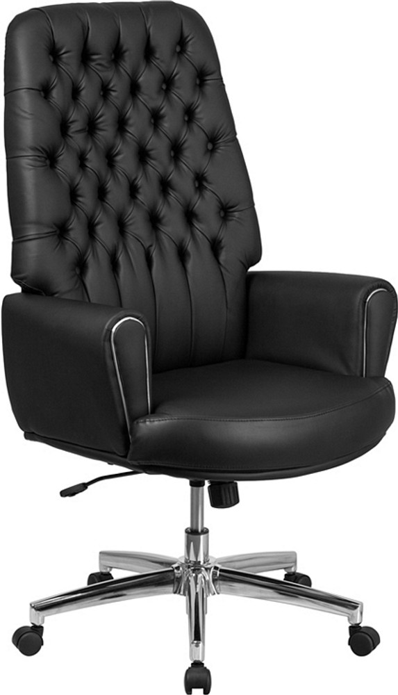 tufted leather executive office chair Flash Furniture High Back Traditional Tufted Black Leather Executive Swivel Chair with Arms