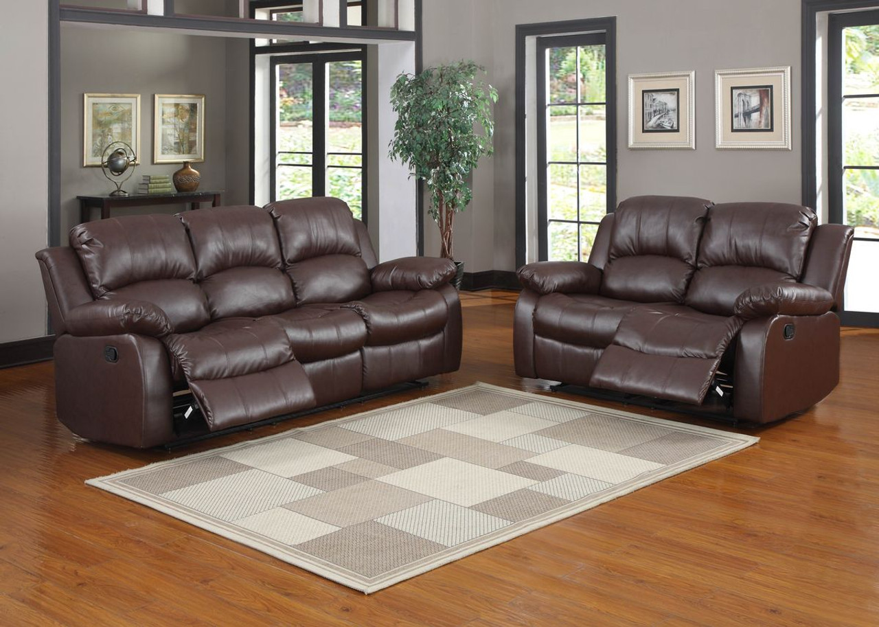 marlow reclining sofa loveseat and chair set decorating living room dark brown leather homelegance cranley double