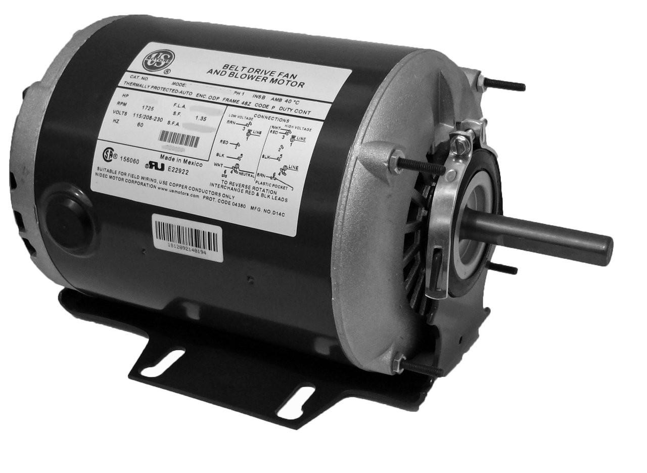 medium resolution of 1 3 hp 1725 rpm 48 frame 115 230v belt drive furnace motor ball brg pd6004