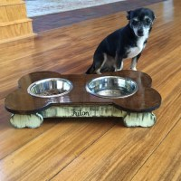 Wooden Dog Bowl Holder, Wood Pet Feeder, Unfinished DIY, 2 ...