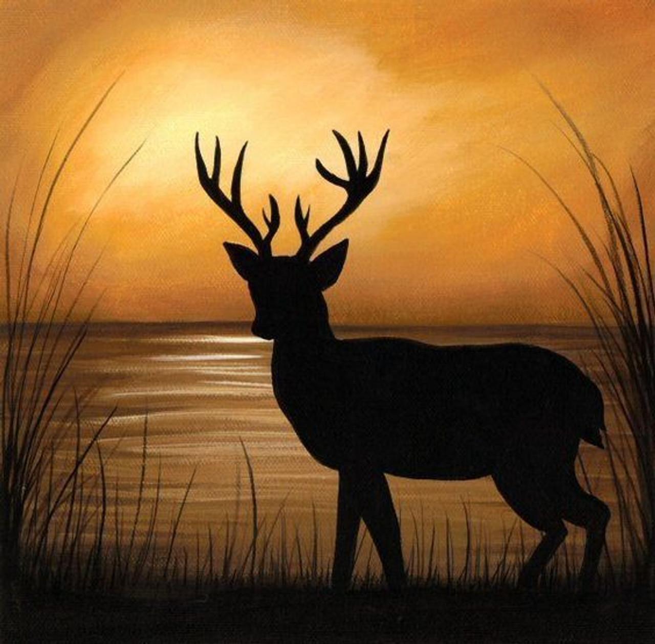Deer Silhouette Handmade Painting Latesh Nair. Code Art 359 11281 - Paintings