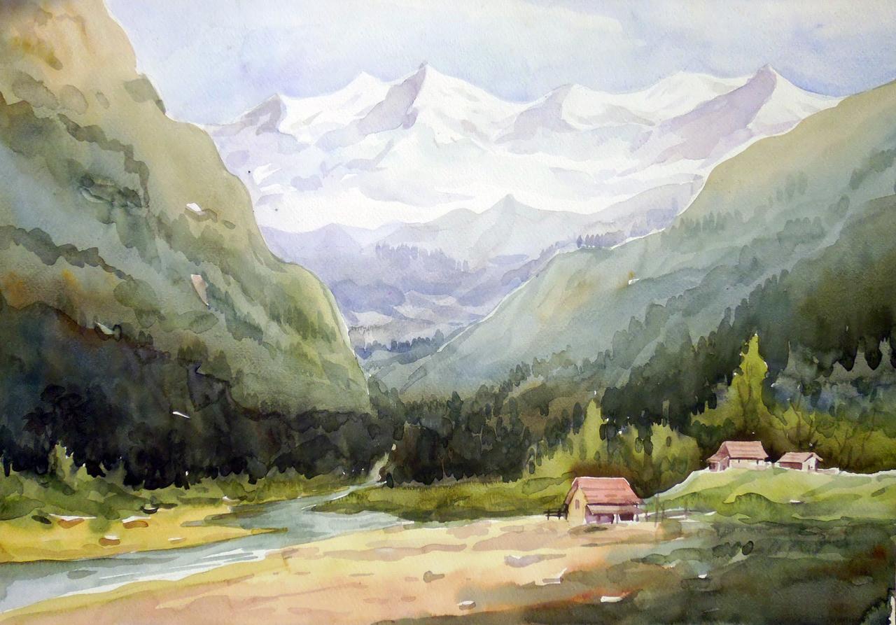 Himalaya Mountain Landscape Handmade Painting Samiran Sarkar. Code Art 1232 15746