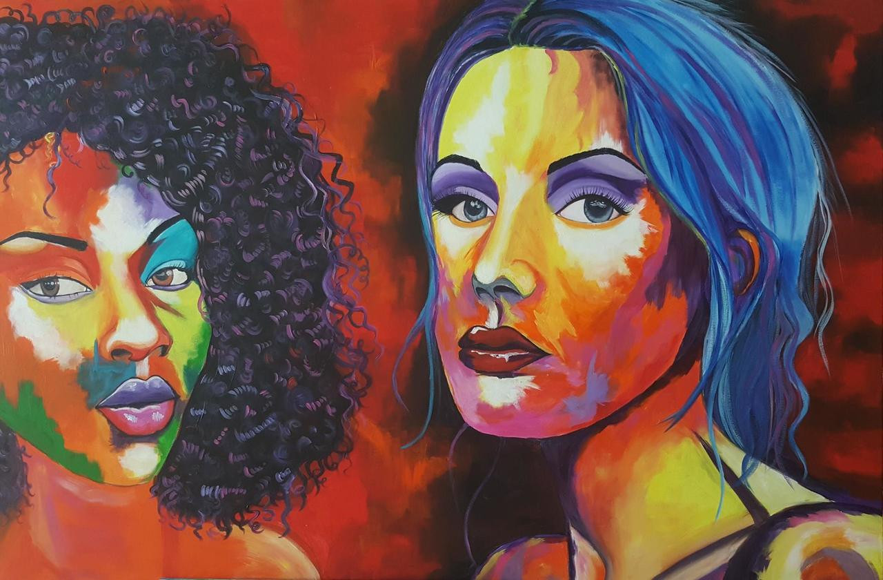Unity In Diversity Lady Portraits Handmade Painting
