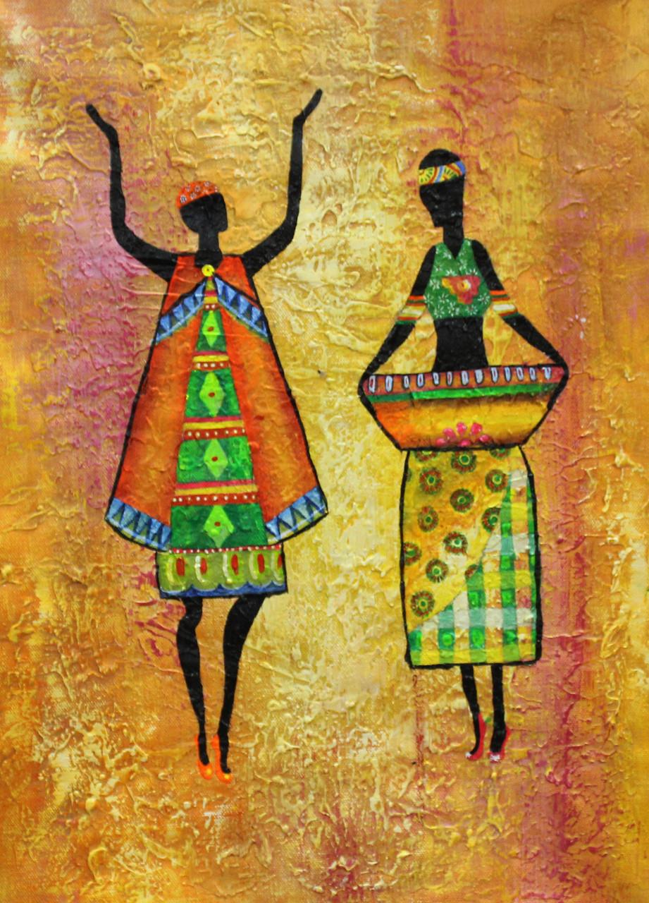African Art 02 Handmade Painting Ram Achal. Code 1522 19905 - Paintings