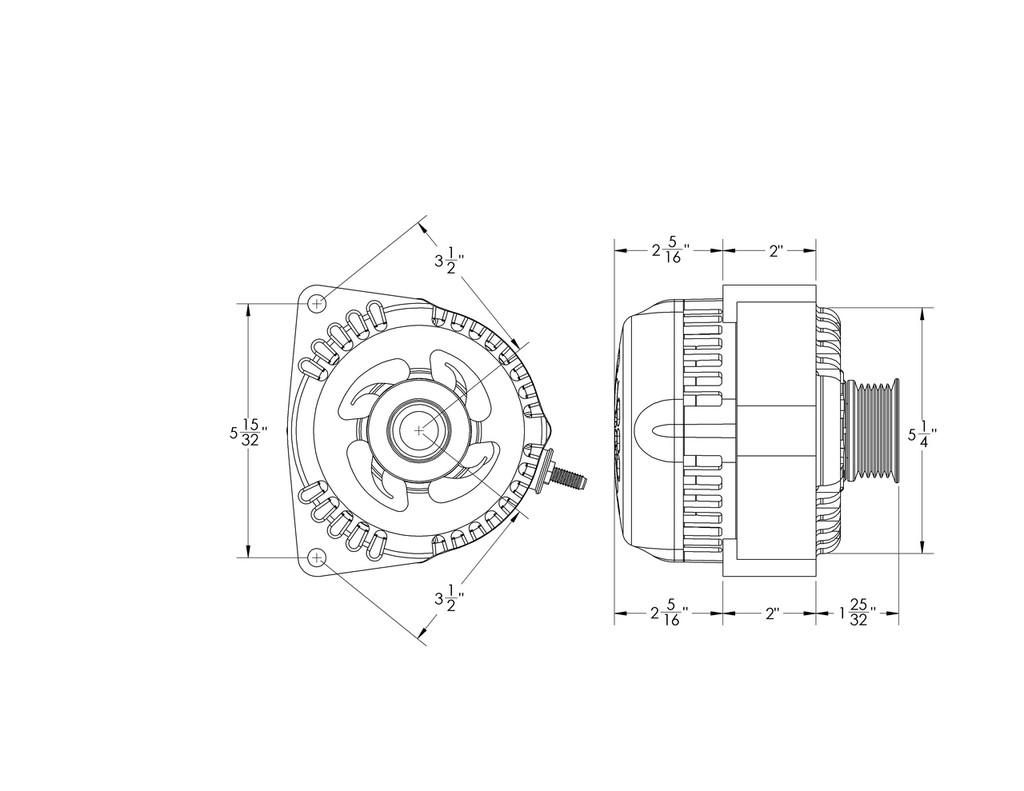 hight resolution of one wire black 240 amp racing alternator gm truck ls engine swap