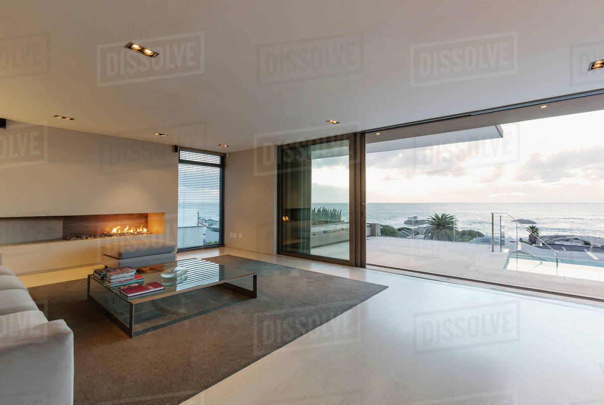 Modern Minimalist Luxury Living Room With Gas Fireplace